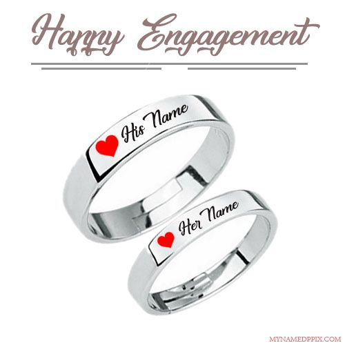 Happy Engagement Love Ring With Name Image Happy Engagement