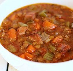 Slow Cooker Lentil and Ham Soup ~ Slow Cooker Taste