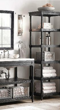Restoration Hardware Bathroom Vanity For The Home Pinterest Open Shelving Caves And Towels