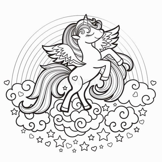 1001 Ideen Fur Ausmalbilder Einhorn Fur Kinder Coloring Pages Cards Rainbow