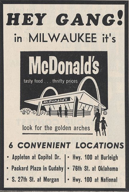 1964 Milwaukee-area McDonald's ad. Going there (the 27th St. and Morgan Ave. location) was such a huge treat back then.