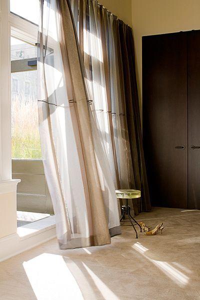 Window Treatments | Floor length mohair and silk Bergamo curtains.