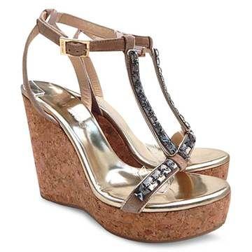 Jimmy Choo | New $757 Jimmy Choo Naima Jeweled Cork Platform Wedge Sandals - Nude - Size 40