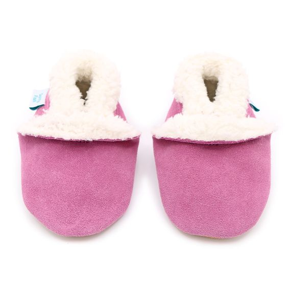 Pink Suede Slipper – Dotty Fish Soft Leather Baby and Toddler Shoes – fold
