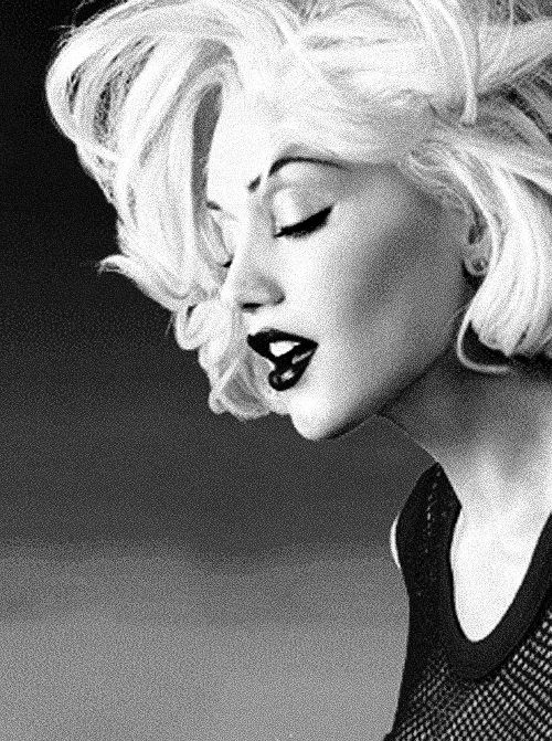 Gwen Stefani Black and White, she seems almost Marilyn Monroe like in the picture.