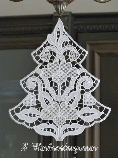 Stand Alone Lace Embroidery Designs : Free standing lace christmas tree machine embroidery