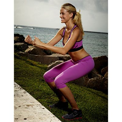 BLAST FAT WITH PLYOMETRICS- Do each move for 30 seconds, rest for 30 seconds, then go to the next. Once you finish the cycle, rest for 2 minutes, then repeat twice more. (You don't need any equipment—just something you can jump on, like a low bench or step.)-  1) Squat Jumps   2) Sumo Jumps  3) Straddle Jumps  4) Lunge Jumps  5) Hopovers  6) Hopscotches  7) Skaters  8) Plank Jacks  #plyometrics #workout via http://www.health.com/health/gallery/0,,20488631_3,00.html