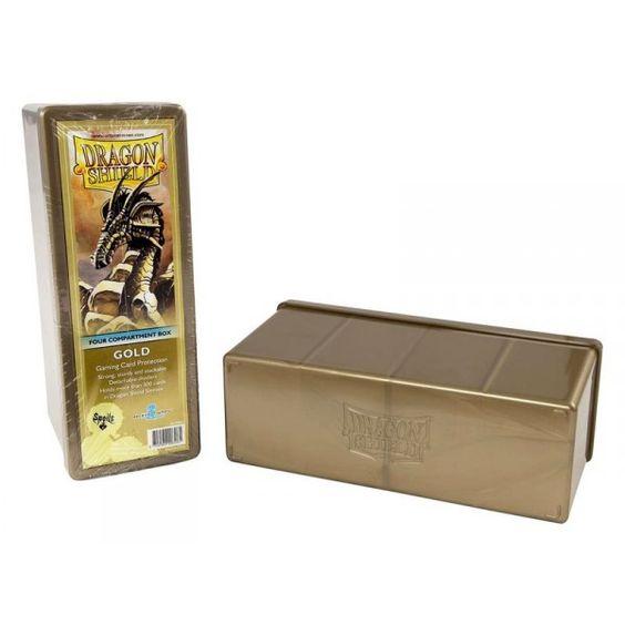 Dragon Shield - Scatola Porta Carte 4 Scomparti Oro
