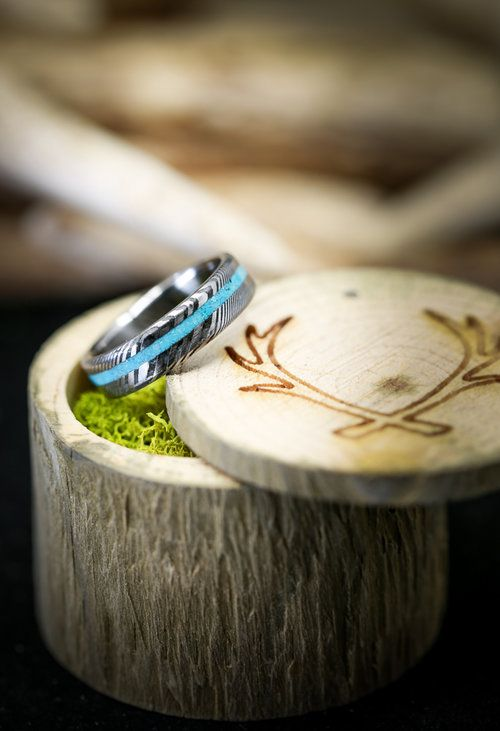 Narrow Vertigo In Damascus Steel And Turquoise Fully Customizable Turquoise Wedding Rings Etsy Wedding Rings Turquoise Wedding Band