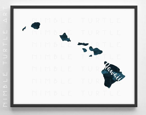 Hawaii State Outline Watercolor in Teal Blue  -  Instant Download