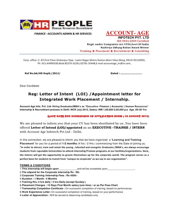 Letter of intent loi appointment letter - offer letter format ...