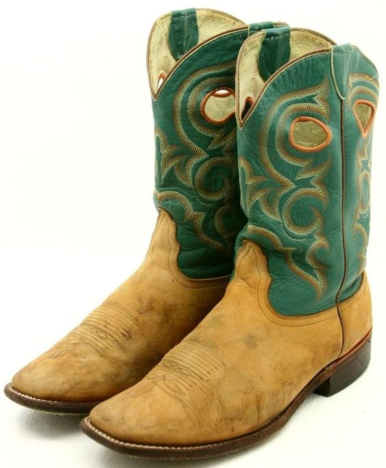 Nocona Mens Cowboy Boots Size 11 D Brown Green Leather Buckaroo