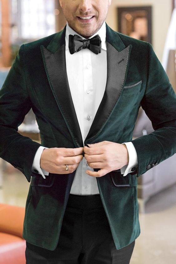 Who says you need to have a coordinated wedding party? Opt for a colored velvet jacket or a patterned suit. Looking to make a subtle statement? Try a custom bow tie.