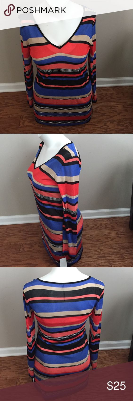 Trina Turk stripped knitted dress with slip Trina Turk stripped fine gauge knitted dress (gold, blk, coral and sapphire) with slip Trina Turk Dresses Mini