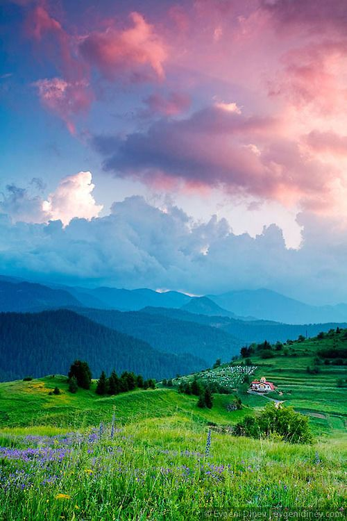 scenery colorful cloud The last day of spring in the Rhodope Stoikite.