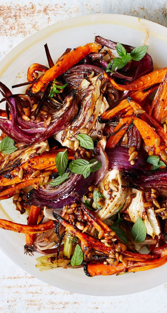 Roasted Carrots and Red Onions with Fennel and Mint by bonappetit: For those of you who appreciate an aggressively-roasted veggie. #Carrots #Fennel #Onions
