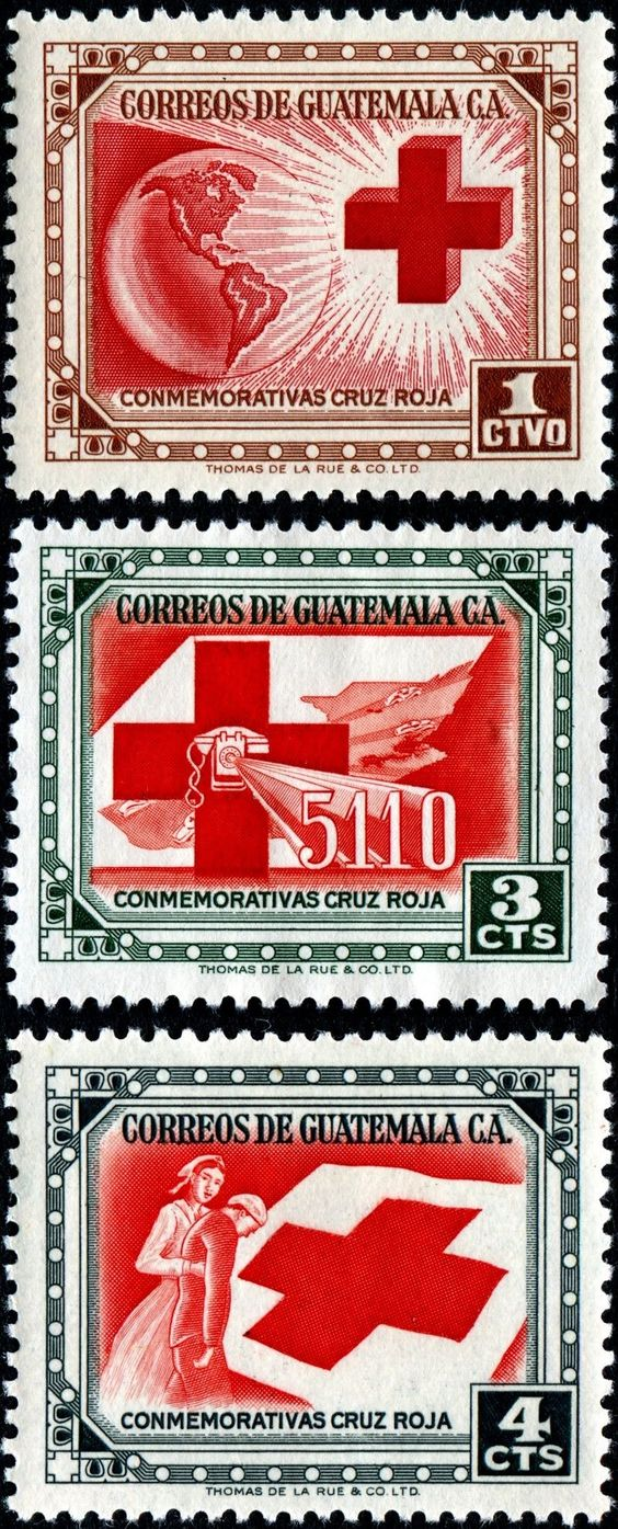 Three stamps in a set honoring the Red Cross, engraved and printed by Thomas De La Rue & Co., Ltd., and issued by Guatemala on May 23, 1956, Scott Nos. 360-62: Red Cross and globe; Red Cross and 5110 telephone emergency service; Red Cross, nurse, patient and flag.