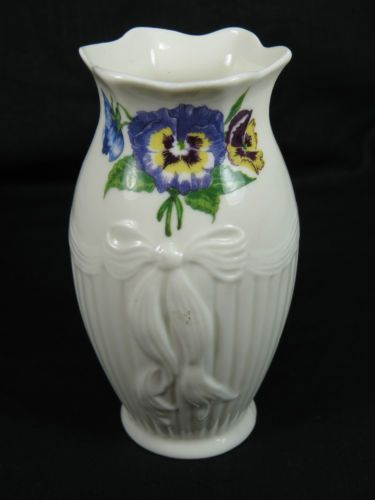 Belleek Enchanted Garden Pansy Style Flower Vase 5 Tall Ireland Porcelain Pot Antiques And