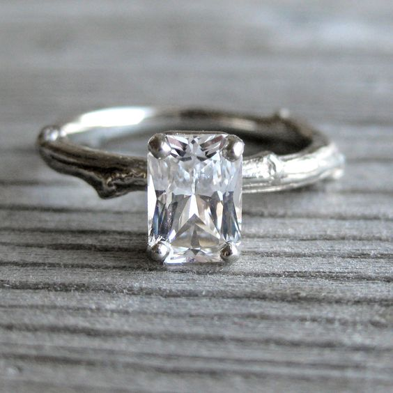 Emerald Cut White Sapphire Twig Engagement Ring e Carat Radiant Cut