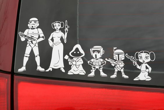 Star Wars Family Member Car Stickers