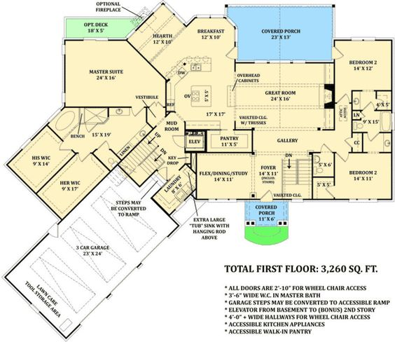 Master suite elevator and floors on pinterest for Wheelchair accessible house plans with elevator