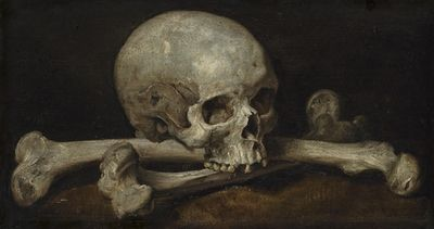 blackpaint20:  gvstradamvs:  MEMENTO MORIPhilips Gijsels  1650 (Netherlands) A Memento Mori with a skull and crossbones