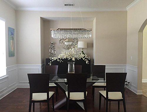 Moooni Crystal Chandelier Lighting Modern Contemporary Rectangle Dining Room Kitchen With Images Dining Room Chandelier Dining Room Lighting Crystal Chandelier Dining Room