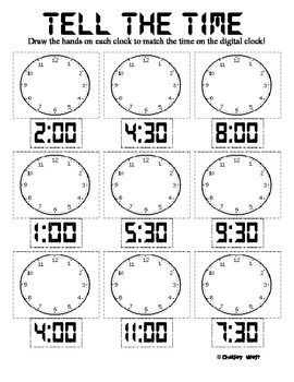 Telling time worksheets for first grade include telling time to ...