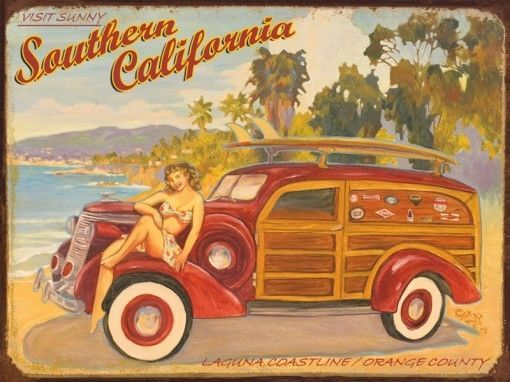 Laguna Coastline Metal Sign, Retro California Lifestyle, Coastal Beach Bar Decor #OMSC #Coastal
