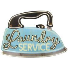 """Large VINTAGE  Metal """"Laundry Service"""" Sign .. Nostaglic, Old Time! VERY COOL!"""