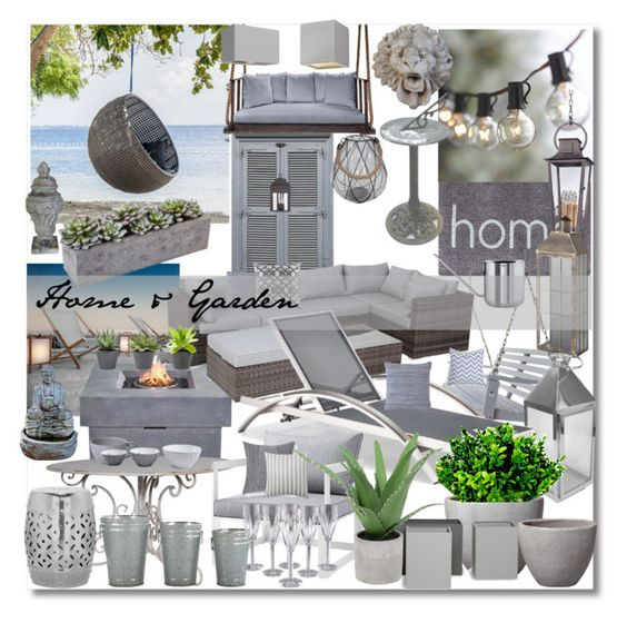 """Home & Garden"" by marionmeyer ❤ liked on Polyvore featuring interior, interiors, interior design, home, home decor, interior decorating, Doormat Designs, Crate and Barrel, Southern Komfort Bedswings and Emissary"