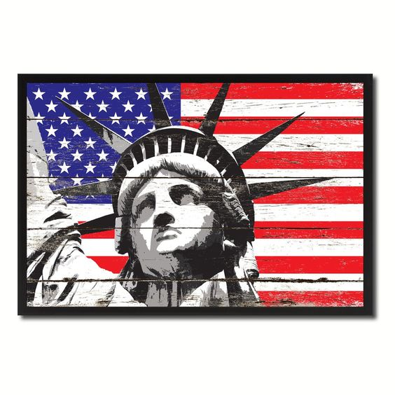 statue of liberty flag canvas print picture frame home decor wall art gifts military art force office decoration
