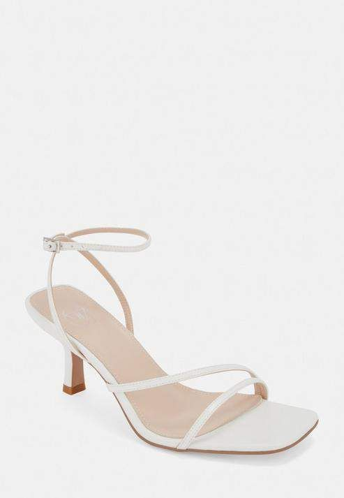 Missguided White Strappy Low Heeled Sandals In 2020 White Sandals Heels Low Heel Sandals White Strappy Sandals