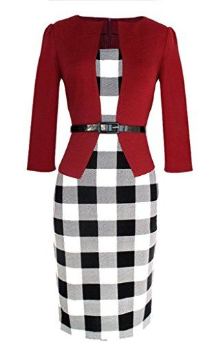 Black/white check pencil dress with red blazer red shoes would be perfect 👏