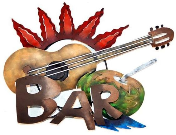Sun And Guitar Party Bar Sign