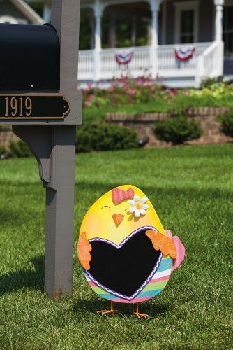 """Easter Chick Decorative Garden Stake with Chalk Board by Accent Your Life. $38.95. Made of wood. Can be used outdoors in a protected. Approximate dimensions are 18.25"""" x 3.5"""" x 26"""". Hand painted. Easter is a holiday that sets up the tone for spring, renewal and hope. This spring chick garden stake is hand painted with vibrant and cheerful colors, making it a welcoming outdoor accent for the spring season.. Save 38%!"""
