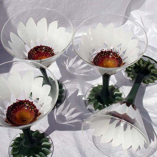 Hand Painted Cocktail Glasses Martini Open Flower White Daisy, via Flickr.