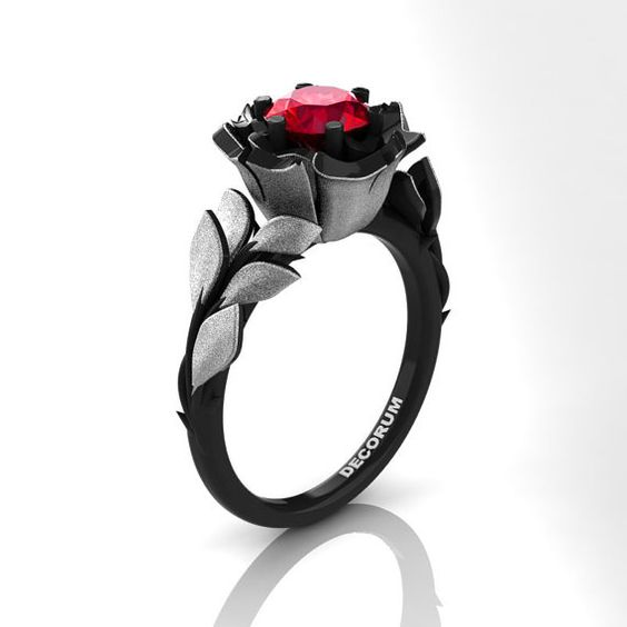 Decorum Floral 14K Black and White Gold 1.0 Ct by DecorumRings
