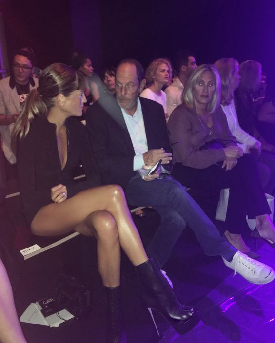 "Front Row Michael Costello #NYFW in my F16 @ruthie_davis ""Cara"" boots and #RuthieDavis X @designowstudio RXD Romper."