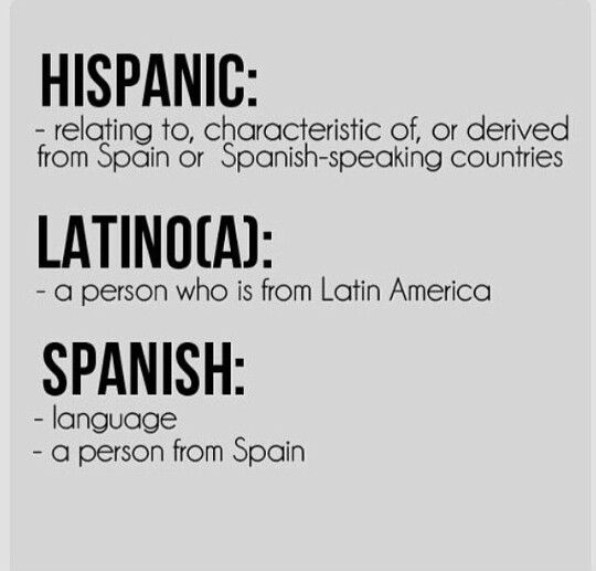 The differences between hispanic, latino, & spanish: