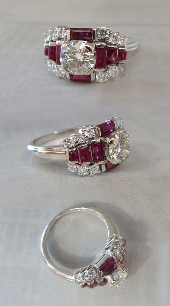 Platinum, .75 Carat Round Brilliant Diamond & Ruby Art Deco Ring