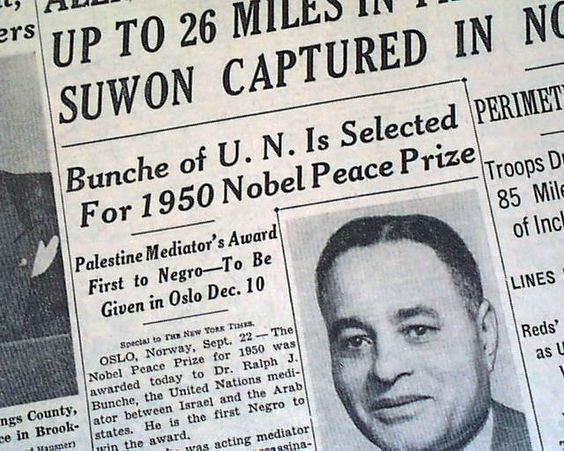 """Dr. Ralph Bunche was the first person of color to be so honored in the history of the Noble Prize. Bunche chaired the Department of Political Science at Howard University from 1928 until 1950, where he taught generations of students. He lived in the Brookland neighborhood of Washington, D.C., and was a member of the American Federation of Teachers affiliate at Harvard. """"Throughout his career, Bunche has maintained strong ties with education..."""