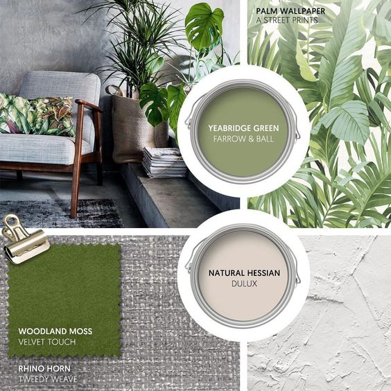 Monday Moodboard - Welcome in the approaching Spring with verdant shades of green. Mix modern botanical prints with chic shades of grey for…