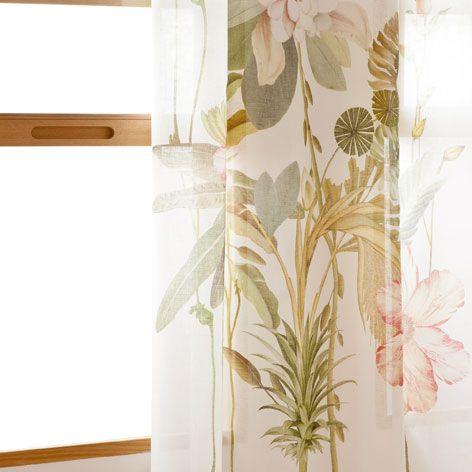 Cortina lino estampado bot nico zara home zara y - Zara home cortinas dormitorio ...