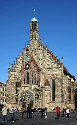 """The Frauenkirche (in English, """"Church of Our Lady"""") is a church in Nuremberg, Germany."""