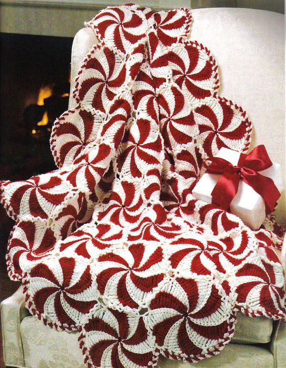 Crochet peppermin  Afghan with Free Pattern | this would be so cute for Christmas