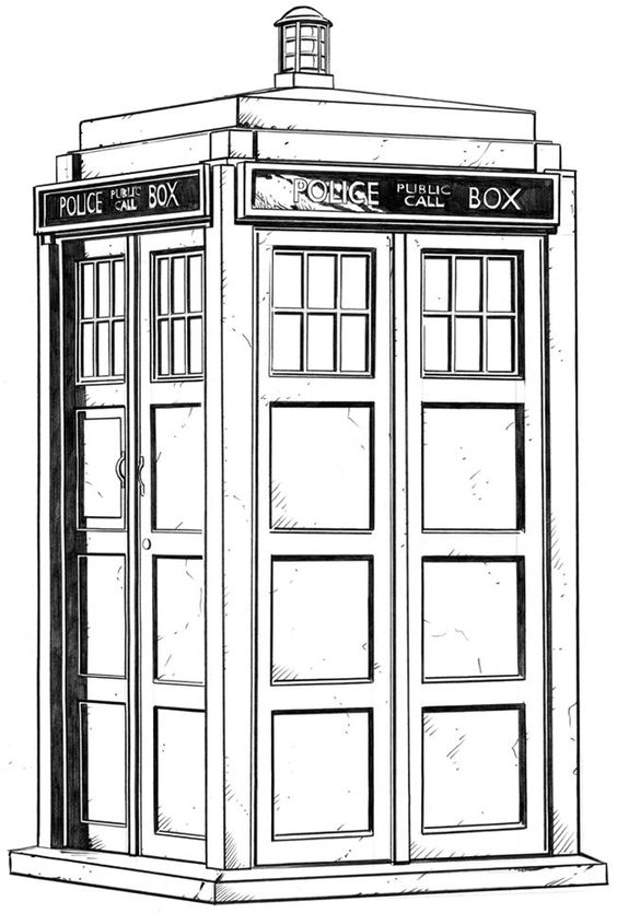 Beautiful sketches determination and tardis tattoo on for Tardis coloring pages