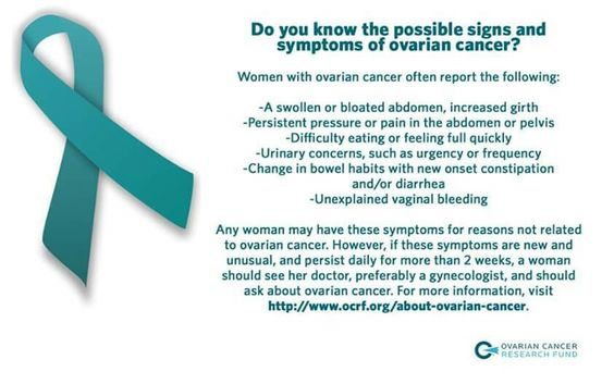 Ovarian  cancer signs and symptoms  i had most of these