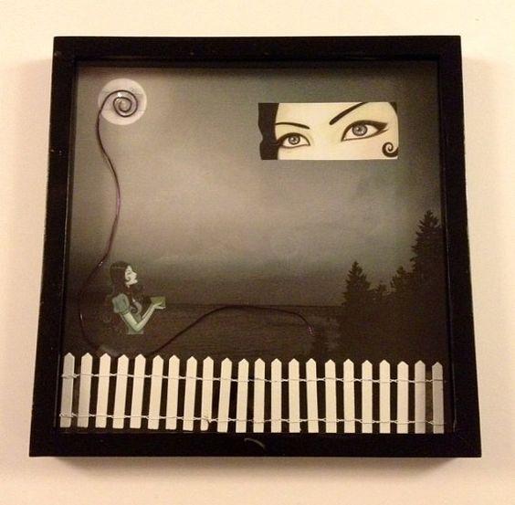 mixed media Tara McPherson shadowbox by DefunctDecoup on Etsy, $45.00