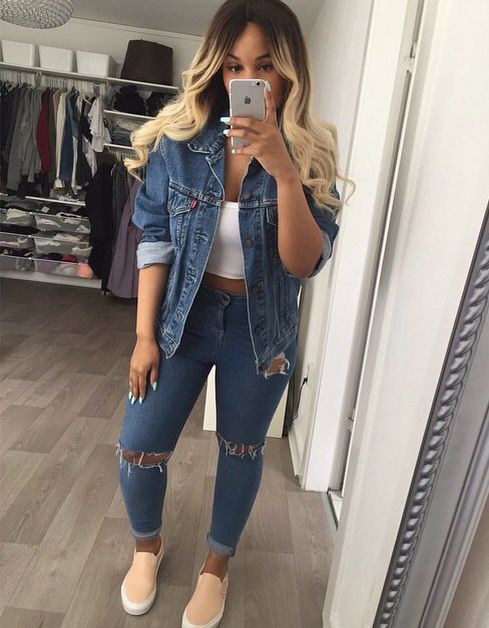 impactful baddie denim outfits jeans